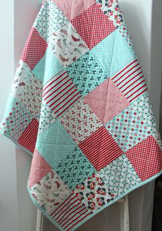 Aqua Baby Quilt~ Baby Quilts Handmade~ Baby Girl Quilt~ Nautical Nursery~Modern Baby Quilt~ Aqua & Red~ Floral~Sailboat~Homemade Quilts by LittlebCottonShoppe on Etsy
