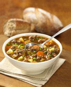 Goulash-Style Beef Hamburger Soup Recipe by Canadian Beef Hungarian Cuisine, Hungarian Recipes, Soup Recipes, Healthy Recipes, Greek Recipes, Beef And Noodles, Egg Noodles, Warm Food, Creamed Mushrooms