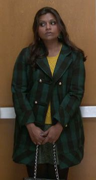 Mindy's green check coat and yellow sweater on The Mindy Project.  Outfit Details: http://wornontv.net/10411/ #TheMindyProject