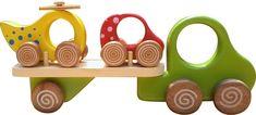Caminhão de brinquedo construído em madeira de lei. Formado por caminhão, carreta, 1 carrinho e 1 helicóptero. Brinquedo para atividade sensório-motora. Brinquedo construído com madeira de origem legal, controlado pelo IBAMA. Revestido com tinta atóxica. Disponível nas cores verde, azul, verme... Wood Projects, Woodworking Projects, Traditional Toys, Wooden Car, Paper Crafts For Kids, Wood Toys, Kids Toys, Toy Hauler, Wooden Toy Cars