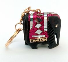 BIG size Handmade THAILAND wooden ELEPHANT KEY-RING sparkly magenta fuchsia Thai Elephant, Wooden Elephant, Key Rings, Elephants, Magenta, Thailand, Shelf, Big, Handmade