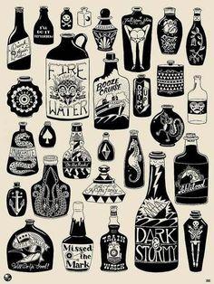Bottle tattoo more tattoo ideas bottle tattoo cool martz tattoo flash