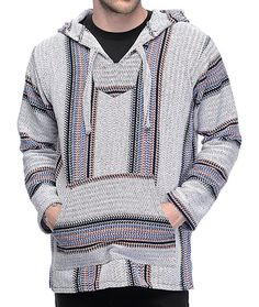 Featured with traditional pullover hoodie construction, the Senor Lopez Punta Logo Palmita Grey, Burgundy and Navy Poncho has a built in hood, kangaroo pouch, and an all around woven stripe design. Add this garment to your wardrobe for a nice laid back la