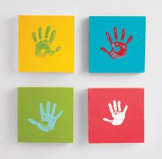 """25 Creative and Easy DIY Canvas Wall Art Ideas: Everyone's hand prints on a mitered-edge board as a protective plate behind the front door?  Or same base but our hands spelling out """"welcome""""??"""