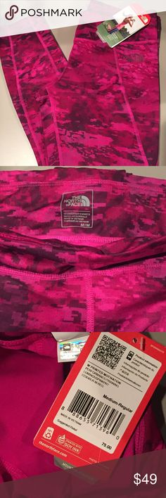 NWT North Face Printed Leggings The North Face Women's Printed Motivation Leggings for Performance/Training - color: Luminous Pink Print (hard to capture true color, stock photo & 3rd are closest) - Moisture-Wicking, quick-drying, 4-way stretch fabric for range of motion - Flattering wide waistband with concealed key pocket - 88% Recycled Polyester, 12% Lycra Spandex North Face Pants Leggings