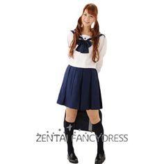 White And Navy Blue Cotton School Lolita Dress Japanese School Uniform