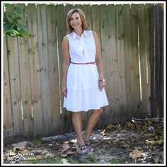 Ann Taylor white eyelet dress is perfect for summer; paired with floral wedges; Queeninbetween.blogspot.com