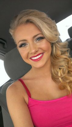 #promhair #makeup curls to the side