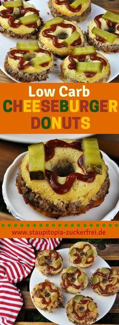 Schon mal etwas von Low Carb Cheeseburger Donuts gehört? Ich auch nicht! Dieses Rezept für die leckeren Low Carb Cheeseburger Donuts ist zufällig beim experimentieren in der Küche entstanden und jetzt aus meiner Sammlung von Low Carb Lieblingsrezepten nicht mehr wegzudenken. Ein perfektes Rezept für das Low Carb Abendessen, aber auch für Partys und Geburtstage ein tolles Fingerfood. #fingerfood #party #burger #cheese #lowcarbbrot #lowcarbabendessen #abendessen #staupitopia #ohnekohlenhydrate