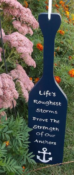 Navy Blue Inspirational Hand Painted Wood Boat Oar by kbaxter225, $17.50