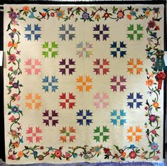 """Fantasy, 92-1/2"""" x 92-1/2"""", by the Quail Country Quilters (Cottonwood, Arizona), quilted by Jody Gagnon. Cross and Crown blocks with appliqued borders."""