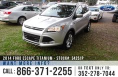 2014 Ford Escape Titanium - 2.0L EcoBoost Engine - Remote Keyless Entry - Alloy Wheels - Tinted Windows - Fog Lights - Roof Racks - Leather Seats - Safety Airbags - Seats 5 - Power Windows, Locks, Mirrors & Driver's Seat - AM/FM/CD/MP3 - SIRIUS Satellite Ready - Touchscreen System - USB/Bluetooth - SYNC by Microsoft - Remote and Push Button Start - Digital Compass - Outside Temperature Display - Heated Front Seats - HomeLink - SD Card Reader - Backup Camera - Cruise Control and more!