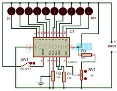This is a simple battery charge level indicator circuit and is very useful to calibrate inverter status, to measure car battery level, etc. Hobby Electronics, Electronics Projects, Electronic Engineering, Electrical Engineering, Electronic Circuit, Circuit Components, Battery Charger Circuit, Electronic Schematics, Electrical Projects