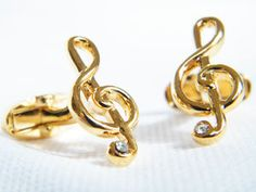 Gold Plated Music Treble Clef Cufflinks In Gift Box