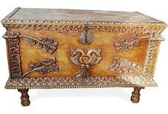 Beautiful Spanish Colonial Trunk for a combo storage/coffee table.