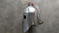 "Spartan helmet "" Bell"" made from an oxygen bottle Welding Crafts, Welding Projects, Metal Welding, Welding Art, Metal Projects, Metal Crafts, Metal Figurines, Blacksmith Projects, Metal Art Sculpture"