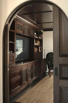 Arched pocket doors would allow for more space, but more privacy in a tiny house