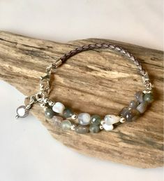 Imperial Jasper Sterling Silver Freshwater Pearl Toggle Clasp. Natural Mixed Navy Blue Gemstone Czech Glass Beaded Bracelet Buddha Head