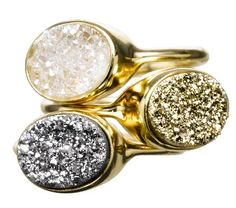 "This looks like a nice ""push"" ring! as in push during labor....Bubble Drusy Ovals Stackable Rings - Sonya Renee"