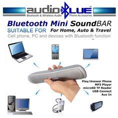Bluetooth Mini Sound Bar Speaker MP3 player microSD USB Connect phone BT devices #MicroMediaAudio