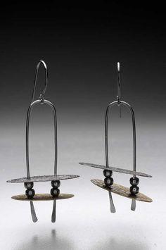 Barbara Smith McLaughlin - brass & sterling silver earrings