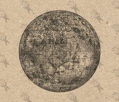 Vintage Image Moon map La Luna Instant Download by UnoPrint