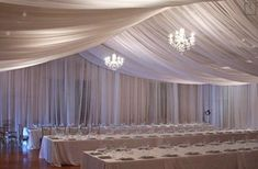 Custom Made Voile Chiffon Sheer Curtain Drape Panel Backdrop. One Custom Panel Drape. These high quality panel drapes are manufactured in our factory in Los Angeles, California. Wall Drapes, Fabric Ceiling, Ceiling Curtains, Sheer Drapes, Ceiling Panels, Wedding Draping, Diy Wedding Drapery, Wedding Wall, Gym Wedding Reception