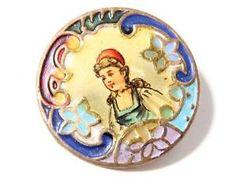 Rare Victorian pictorial champleve enamel button.