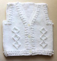 Hand Tunusian Crochet White Baby Vest / Newborn 0 by BYBERRDESIGNS, $21.75