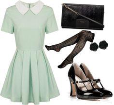 Gwen Stacy Semi Formal Outfit by lauloxx featuring a skater skirtLipsy skater skirt, $36 / Vince Camuto socks / Marc Jacobs platform pumps / Black handbag, $250 / Dollydagger rose earrings, $17