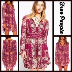 """FREE PEOPLE Mini Dress Chiffon Bridgette Berry RETAIL: $148     NEW WITH TAGS  FREE PEOPLE Dress Chiffon Bridgette                                                                   * Relaxed style, split neckline w/tie closure, & long cuffed sleeves * Flattering empire waist & curved ruffle hemline * Lightweight & lined * It measures about 37.5"""" long * Beautiful floral print   Fabric: 100% Viscose, 100% polyester lining  Color: Berry Combo  No Trades ✅ Offers Considered*✅ *Please use the…"""