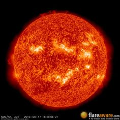 The hourly sun (at 04:45 pm UTC on 17 May 2013)