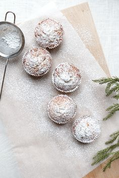 christmas stollen muffin // candied orange rinds, currants, lemon, brandy, flour, almond meal, baking powder, sugar, butter, eggs, marzipan