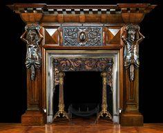 big antique fireplace | Antique Renaissance carved Oak Atlantean Figured Fireplace Mantel