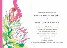 A botanical wedding invitation design by the Couture Card Company, Perfectly proteas features pink king proteas and deep pink and red queen proteas in a stunning modern and traditional invite. Botanical Wedding Invitations, Beautiful Wedding Invitations, Wedding Invitation Design, Wedding Stationery, Golden Wedding Anniversary, Card Companies, Brisbane, Invite, Wedding Ideas
