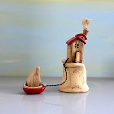 Clay House  ceramic house and ceramic boat  miniature by ednapio
