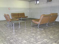 1960 cognac leather seating group