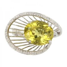 Pre-owned 14K White Gold Lemon Quartz Diamond Cocktail Ring ($889) ❤ liked on Polyvore featuring jewelry, rings, diamond wedding rings, diamond band ring, pre owned diamond rings, diamond cocktail rings and preowned wedding rings