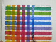 Barreges de colors: Quadrícula amb pintura.
