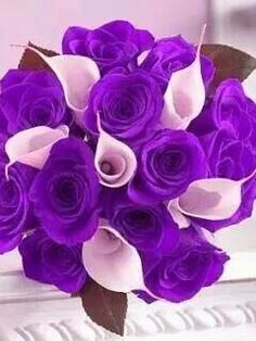 Beautiful-purple roses with white callalillies great bouquet
