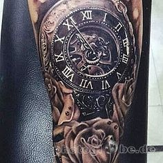 full sleeve tattoos with meaning Clock Tattoo Sleeve, Flower Tattoo Sleeve Men, Unique Half Sleeve Tattoos, Full Sleeve Tattoo Design, Best Sleeve Tattoos, Hot Tattoos, Cover Up Tattoos, Tattoos For Guys, Tatoos