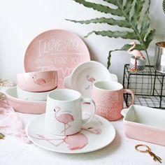Decorative Pink Flamingo Ceramics Dinnerware Set Dinner Bowl Dish Plate Tray Mug Tableware Food Container Crockery Tray Flamingo Craft, Flamingo Decor, Pink Flamingos, Flamingo Hotel, Dinner Bowls, Dinner Sets, Decoration Inspiration, Pink Bird, Cute Mugs