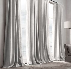 SALON: RH's Belgian Textured Linen Drapery:Woven from the world's finest Belgian flax by Libeco-Lagae, the oldest and most venerable mill in Belgium, our linen is unsurpassed for its soft hand, rich color, natural texture and superb longevity.