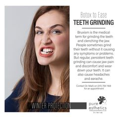 #Botox to Ease Teeth Grinding #Bruxism is the medical term for grinding the teeth and clenching the jaw. People sometimes grind their teeth without it causing any symptoms or problems. But regular, persistent teeth grinding can cause jaw pain and discomfo http://getfreecharcoaltoothpaste.tumblr.com