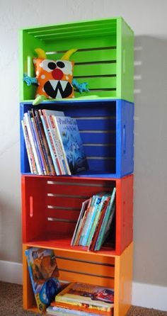 Homemade Crate Bookshelf – Buy crates at Home Depot ($7) and paint them any color you choose! Attach them to each other and voila, personalized and affordable