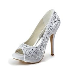 Wedding Shoes - $77.49 - Women's Satin Stiletto Heel Peep Toe Platform Sandals With Rhinestone  http://www.dressfirst.com/Women-S-Satin-Stiletto-Heel-Peep-Toe-Platform-Sandals-With-Rhinestone-047011800-g11800