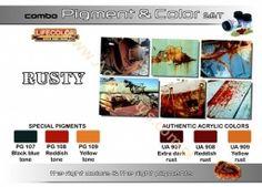 Lifecolor SPG03 Rdza - Rusty Combo Set, zestaw pigmentów i farb do robienia rdzy