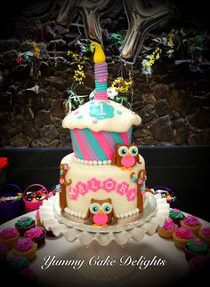 Owl 1st Birthday Cake by: Yummy Cake Delights