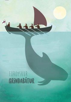 Faroe Islands, Vintage Travel Posters, Vikings, Whale, Street Art, Boat, Logos, Illustration, Animals