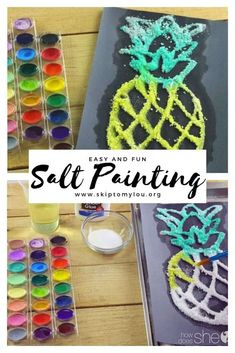 Salt Painting is a creative way to have kids make a two-dimensional work of art. Create these vibrant painting with simple items you probably already have at home. Kids will love the glittery texture salt paint creates. crafts Salt Painting For Kids Art Activities For Kids, Fun Crafts For Kids, Summer Crafts, Cute Crafts, Creative Crafts, Crafts To Do, Art For Kids, Art Project For Kids, Art Projects For Toddlers